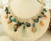 Sea Glass, Seashell and Enamel Bib Necklace in Aquas and Blues