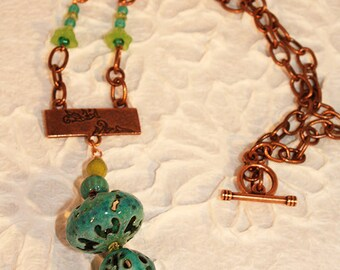 Turquoise Torch Fired Enamel Necklace With Stamped Copper Pendant N11 SALE 30% OFF