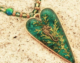 Seahorse Heart Necklace in Shades of Turquoise and Green N23 On Sale Now 30% Off