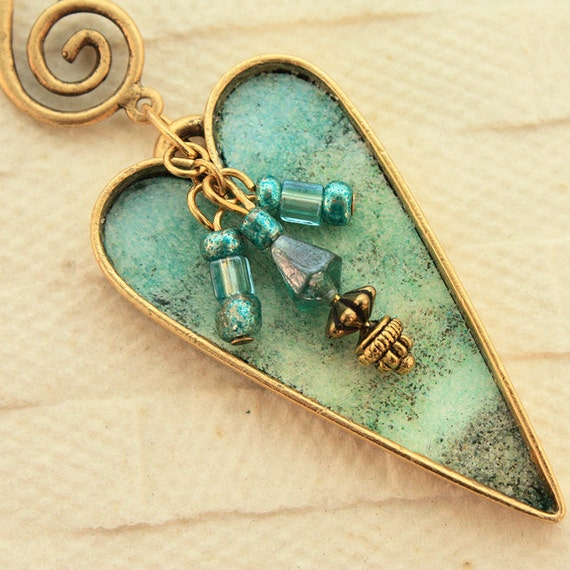 Enameled Seascape Heart Necklace in Aqua, Pearl and Gold- Hold for Barb
