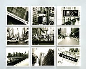 New York Photography - Print Set Of Nine - New York City Times Square In Black And White - 10 X 8 Inch Prints - Wall Art - Print Set