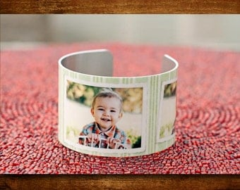 Personalized Modern Stripes Photo Cuff Bracelet
