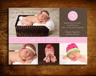 Patchwork Girl Photo Birth Announcement - set of 20