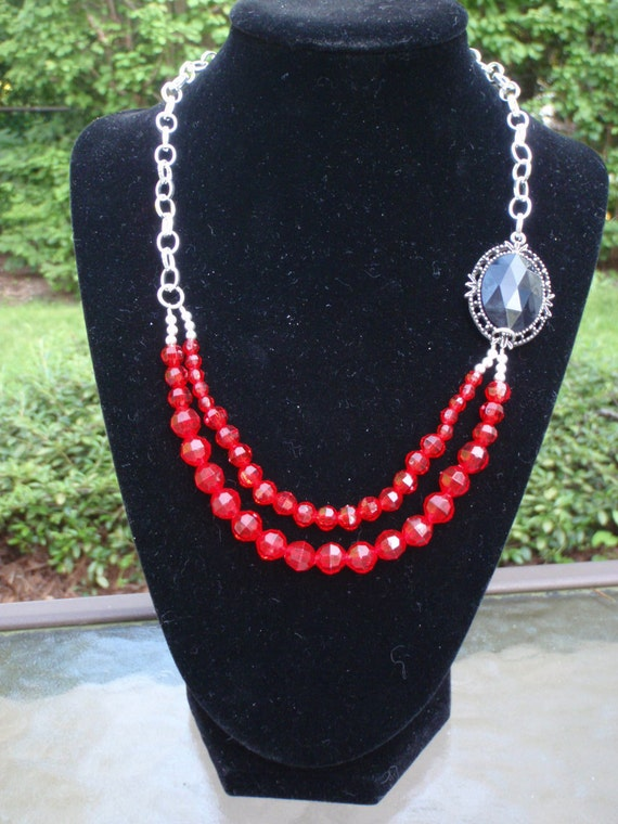 Red Faceted Bead Double Strand and Chain Asymmetrical Necklace with Black Side Stone on Filgree Bezel