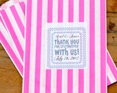 Reserved for Charmaine // NEW COLOR Personalized Candy Stripe Bags // Wedding Favors // Valentine Party Bags // English Seaside