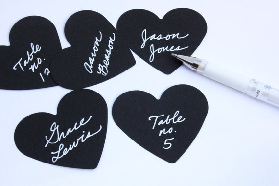 TRES CHIC Black Paper Card Hearts // Valentine Tags // Wedding // Labels