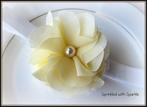 Pastel Yellow Headband, Spring Headband or Clip, Easter Headband, Yellow Flower Pearl, Newborn Headband, Baby Headband - Also Peach Flower