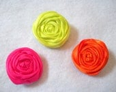 Baby hair clips-Neon-rolled rose-mini-girls-set of three