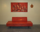 ON SALE NOW Mid Century Modern, danish, retro, Vintage upholstered Daybed orange vinyl