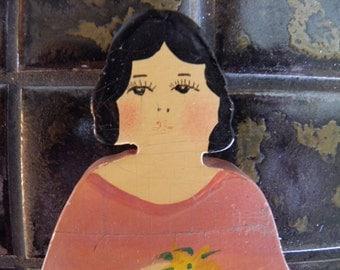Vintage Hand Painted Lady Broom,