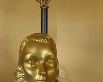 Antique Gold Gilt Painted French Mannequin, Millinery Head, Glamour