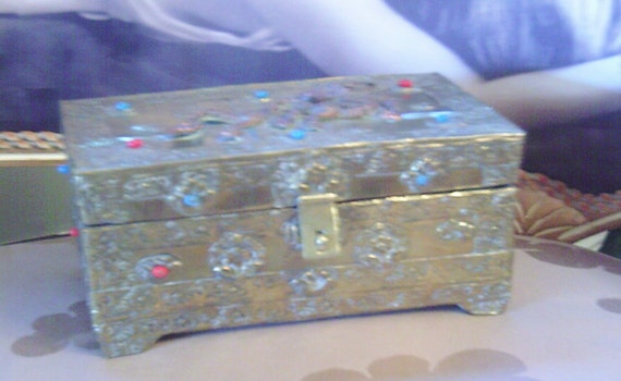 Antique Brass, Jeweled, Oriental Box, Dragon in Copper
