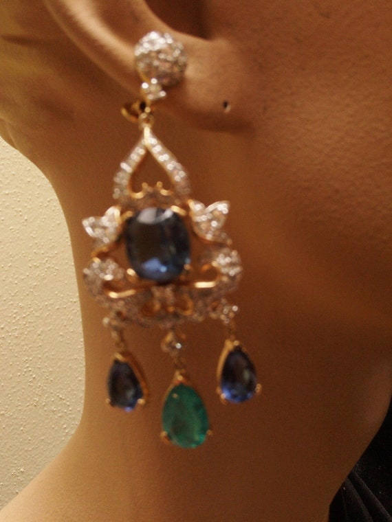 Jomaz Rhinestone Dangle Earrings, Chandelier,