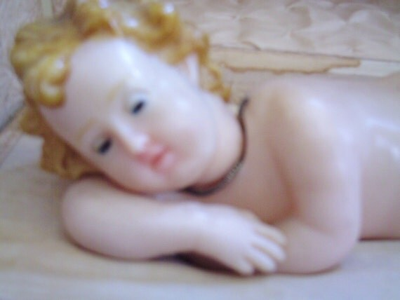Antique Wax Baby Jesus in Music Box, Glass Eyes