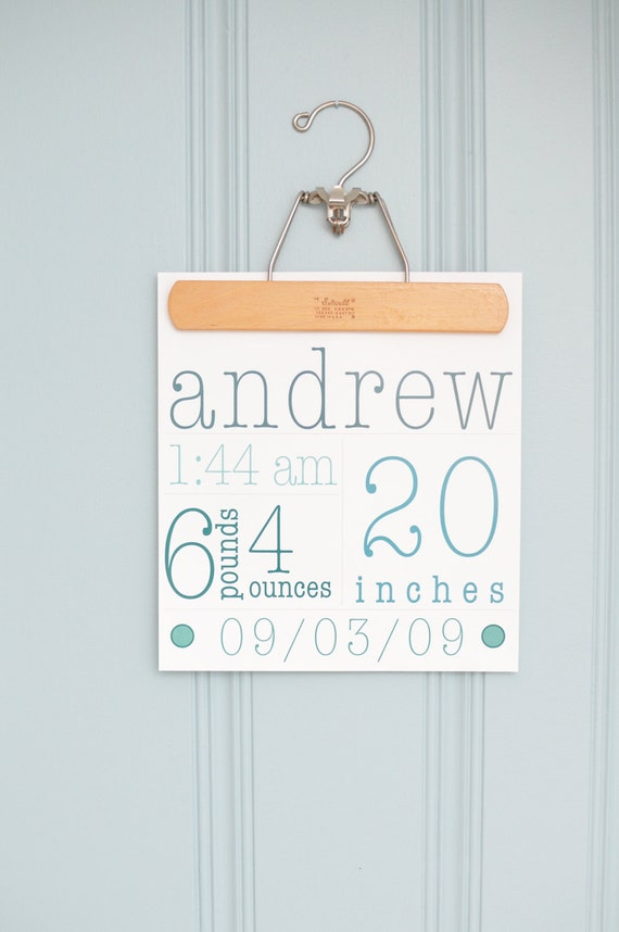 modern baby birth announcement. wall art. 10x10. typography. personalize.