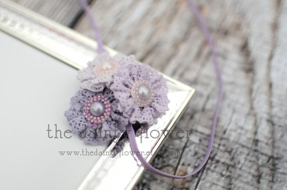 adeline trio headband.  vintage shabby chic purple lace flower.