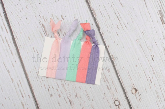 no crease elastic hair ties. set of 5. light purple.dark coral.mint green. lavender.baby pink.