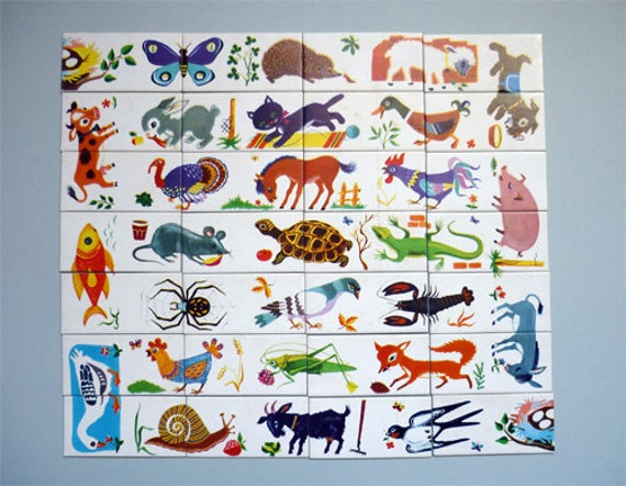 60's French Domino puzzle depicting animals by MyVintageAvenue