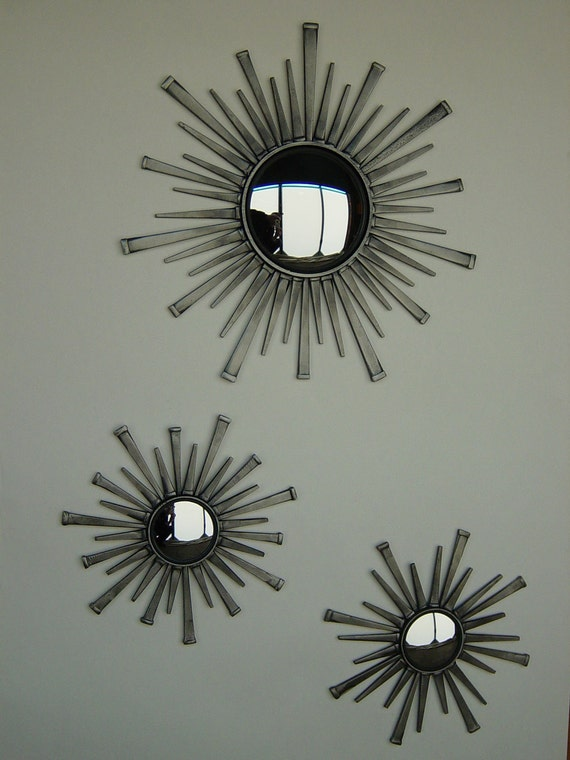 Wall Mirror Set Of 3 starburst mirror set
