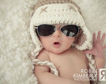 Newborn, Toddler, Child Crochet Aviator Hat All Sizes