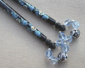 Pair of Painted Lace Bobbins - blue and white spiral flowers on Ebony
