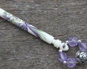 Painted Lace Bobbin - bouquet of flowers on bone