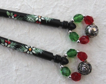 Painted Ebony Lace Bobbins - a matching pair