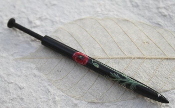 Painted Honiton Lace Bobbin - Poppy