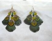 Earth Goddess Chandelier Peacock Feather Earrings