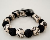 Fashion necklace - Black and white necklace - Elegant decoupage and crocheted wooden beads