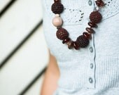 Brown bead necklace - Brown necklace in chocolate brown shades
