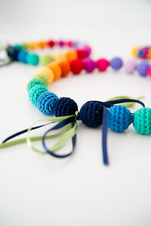 Rainbow necklace - Colorful necklace - Crocheted bead necklace