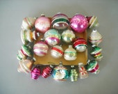 Vintage Retro Shiny Brite Christmas Ornaments Lot Scene Lantern Indent Bells 22