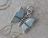 4 Butterfly pendant, silver charms, children's charm. AWESOME DISCOUNT.  Sterling silver charm with blue mother-of-pearl inlay. Blue charm.