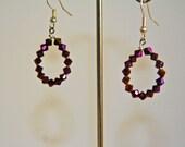 Purple Crystal Hoop Earrings Hand made Sparkle Handmade Earrings Summer Fashion