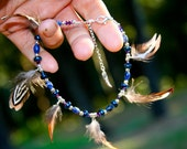 Bohemian Style Anklet Gypsy Jewelry Natural Tribal Jewelry Aurora Borealis Swarovski Crystal festival Accessories Blue Hippie Gift For Her