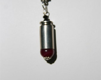 Pink Upcycled Bullet Necklace Striped Agate Recycled Bullet Necklace Cowgirl Inspired Cameo Gear Sportsman Jewelry Gift For Her