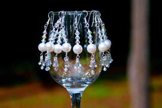 Crystal Delicate Pearl Earrings Set Of Three Bridal Party Gifts Handmade Americana Jewelry Swarovski Crystal  Beach wedding Gift For Her