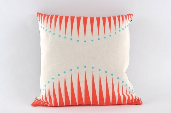 Circus Triangles in coral cushion cover (no insert) - pillow
