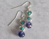 Silver Dangle Earrings in teal, purple, star, flower