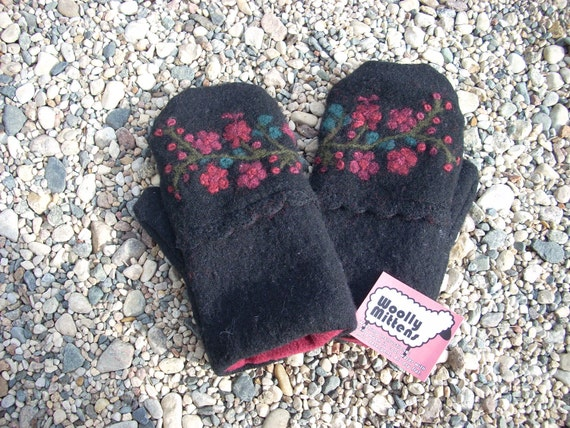 Black Wool Felted Sweater Mitten with Burgundy, Teal and Green Embroidery