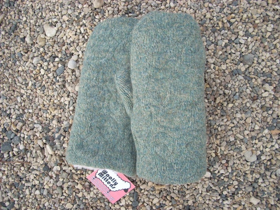 Quilted  Variegated Green and Beige Felted Wool Sweater Mitten