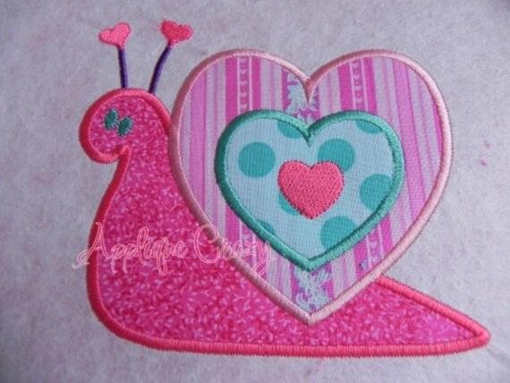 Valentine Snail Applique design