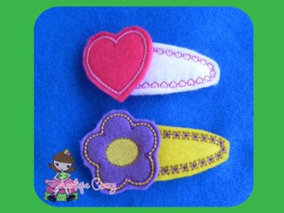 Flower and Heart Clippies covers and felties