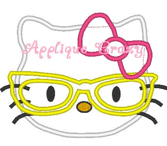Kitty Nerd Applique design