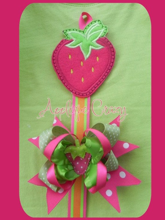 Strawberry Bow Holder Applique design All in the hoop)