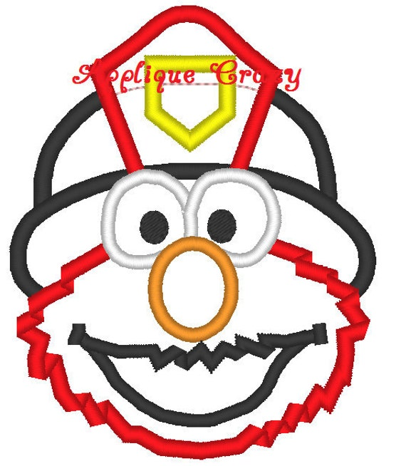 Elmo firefighter or police Applique design