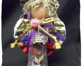 Salt Shaker Angel, Glass Kitchen Girl, OOAK doll, repurposed kitchen gadget, small angel miniature, Moss hair