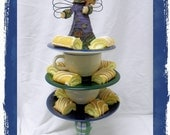 Garden Angel Totem, Snack Tray, Kitchen Accessory, Blue and Green, Glassware