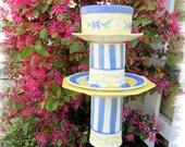 Glass Garden Totem, Bird Feeder, Sculpture, Blue and Yellow